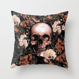 SKULL AND FLOWERS II Throw Pillow