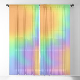 Bright Rainbow Wiggly Gradient Sheer Curtain