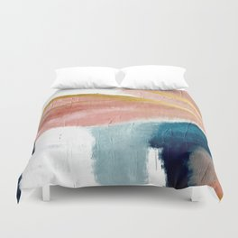 Exhale: a pretty, minimal, acrylic piece in pinks, blues, and gold Duvet Cover