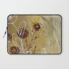 Yellow Tan Spring Abstract Flowers. Jodilynpaintings. Abstract Floral Laptop Sleeve