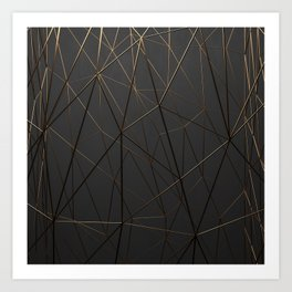 Golden Wireframe Triangles Art Print