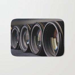 Row of photo lenses Bath Mat