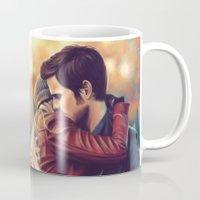 captain swan Mugs featuring Arms around me - Captain Swan mug by Svenja Gosen