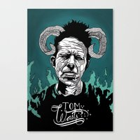 tom waits Canvas Prints featuring Tom Waits by Linnéa Ek