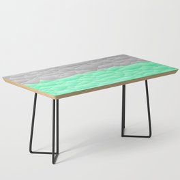 Vibrant Mint Green and Silver Quilted Design Coffee Table