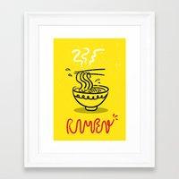 ramen Framed Art Prints featuring RAMEN by OHOO SIX