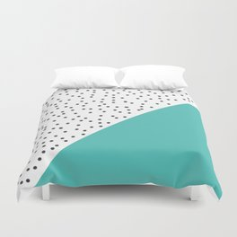 Geometric grey and turquoise design Duvet Cover
