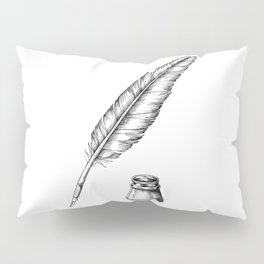 Quill Pen with an Inkwell Pillow Sham