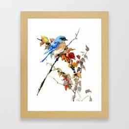 Bluebird on Fall Tree Framed Art Print