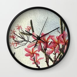 Pink Plumeria by Cynthia Flores Wall Clock