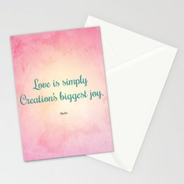 Love is Simply... Quote by Hafiz Stationery Cards