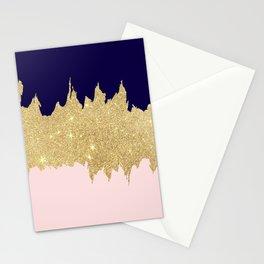 Modern navy blue blush pink gold glitter brushstrokes Stationery Cards