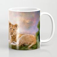lions Mugs featuring Little Lions by Angelgold Art