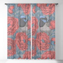 Peonies and wrens Sheer Curtain