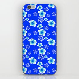 Blue Floral And Turtles Hawaiian Pattern iPhone Skin