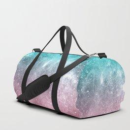 Sea pink viridian green ombre abstract galaxy Duffle Bag