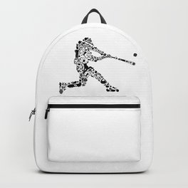Baseball Player Hit Collage Silhouette Art Backpack