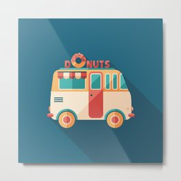 Donuts Van Metal Print
