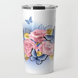 Three Pink Roses with Butterflies Travel Mug