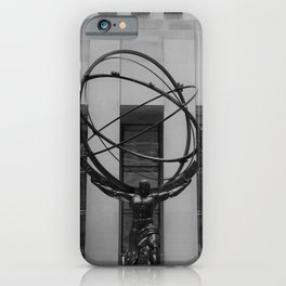 NYC Atlas in Rockefeller Center Statue in Black and White iPhone Case