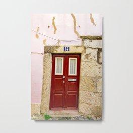 Portugal Door Photography, Crooked Little Door in the Alfama, Lisbon Metal Print