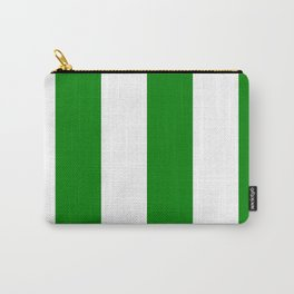 Wide Vertical Stripes - White and Green Carry-All Pouch