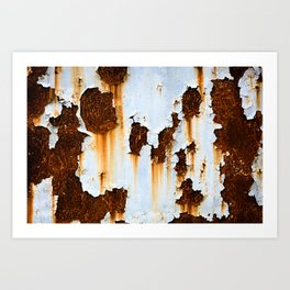 Corroded white metal background. Rusted white painted metal wall. Rusty metal background with streaks of rust. Rust stains. Rystycorrosion. Art Print