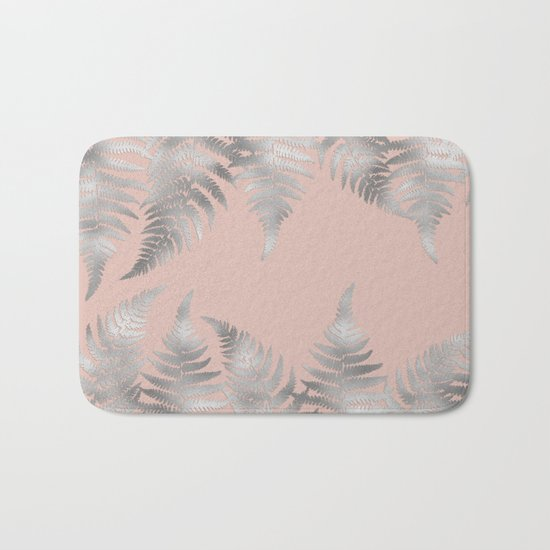 Silver fern leaves on rosegold background - abstract pattern Bath Mat