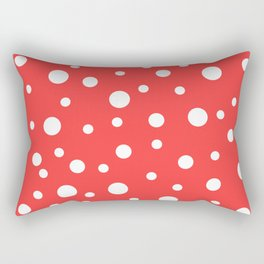 White Dots on Red Rectangular Pillow