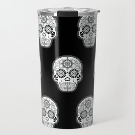 Día de Muertos Calavera • Mexican Sugar Skull – White on Black Palette Travel Mug