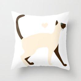 Siamese Cat Cartoon Throw Pillow