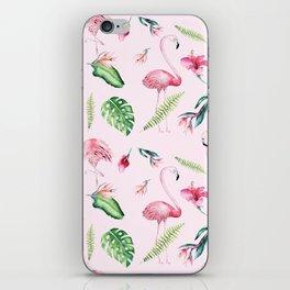 Blush pink green watercolor monster leaves flamingos pattern iPhone Skin