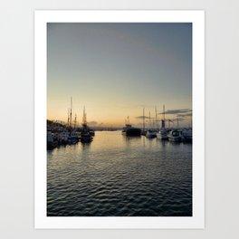 Sunset over Brixham harbor Art Print