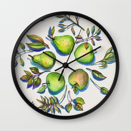 Summer's End - apples and pears Wall Clock