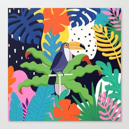 Bold Tropical Jungle Abstraction With Toucan Memphis Style Canvas Print
