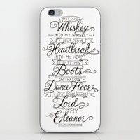 whiskey iPhone & iPod Skins featuring Whiskey In My Whiskey by Erika Leahey