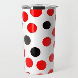 red grey black dots on white background pattern Travel Mug