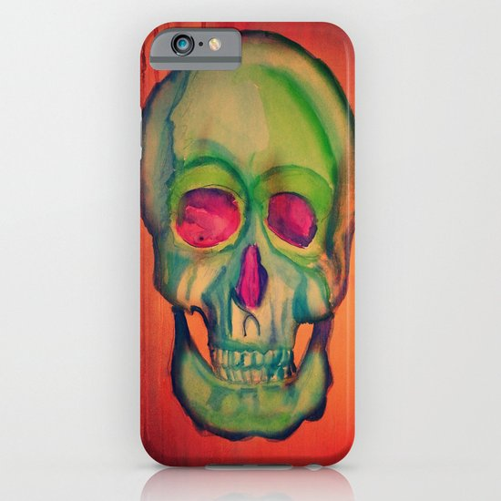 Watercolor skull/Green iPhone & iPod Case