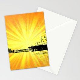 Santa Monica Pier Yellow Sunburst Stationery Cards