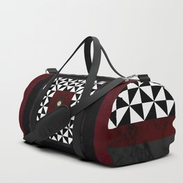 Ruby Red Marble w/ Blk & White Geometrica Pattern Insert Duffle Bag