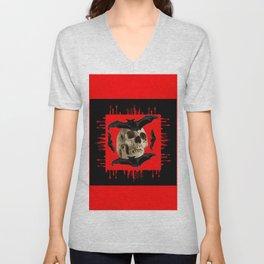 HALLOWEEN BAT INFESTED HAUNTED SKULL RED ART DESIGN Unisex V-Neck