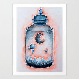 Sunset Moon Terrarium  Art Print