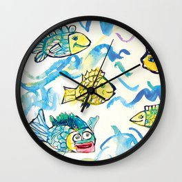 Funny fishes Wall Clock