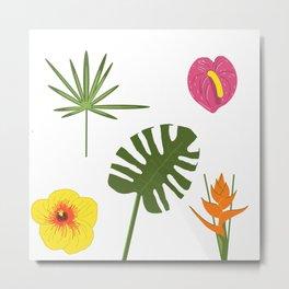 Jungle / Tropical Pattern in white Metal Print