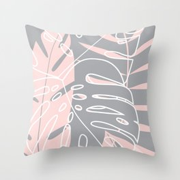 Minimal tropical leaves pink pattern Throw Pillow