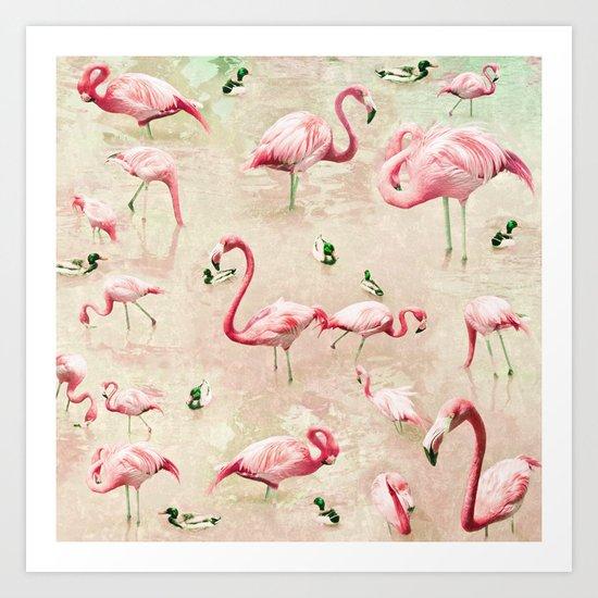 Flamingos Vintage Pink  Art Print