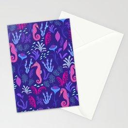 Fabulous ink sea. Sea creatures and algae. Decorative marine pattern. Stationery Cards