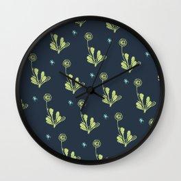 Spider Daisies (green + navy) Wall Clock