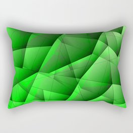Abstract pattern of green and glowing plates of triangles and irregularly shaped lines. Rectangular Pillow