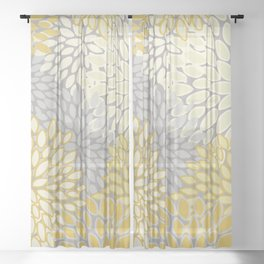 Floral Prints, Soft Yellow and Gray, Modern Print Art Sheer Curtain